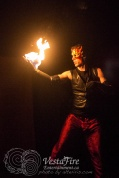 VestaFire performer with fire contact ball