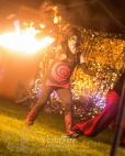 Fire performer with whip in Victoria