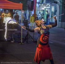 Fire bull whip and fire eating performance in Victoria