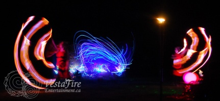 LED hoop and pyrotechnics