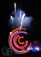 LED hoop and pyrotechnics fire works