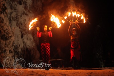 NYE fire show at ski hill