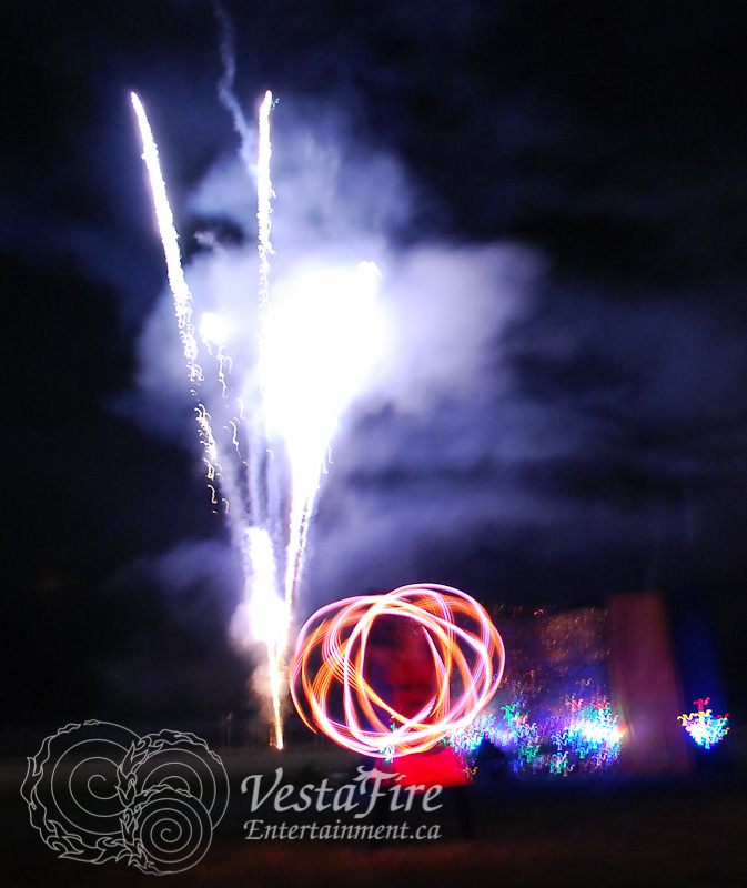 LED hoop with fireworks in Parksville
