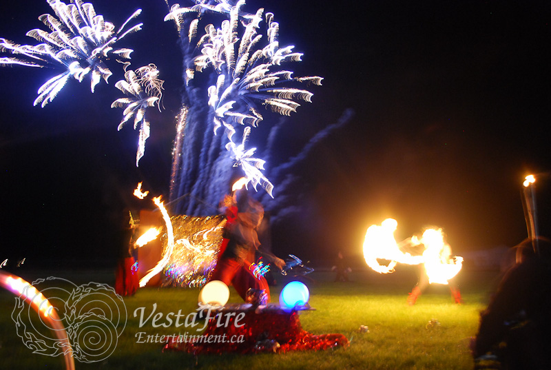 Fire dancers with Fireworks in Victoria