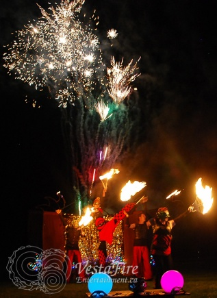 Fire show finale act with Pyrotechnics fireworks