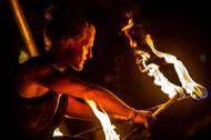 Fire perfomer at a VestaFire show in Victoria