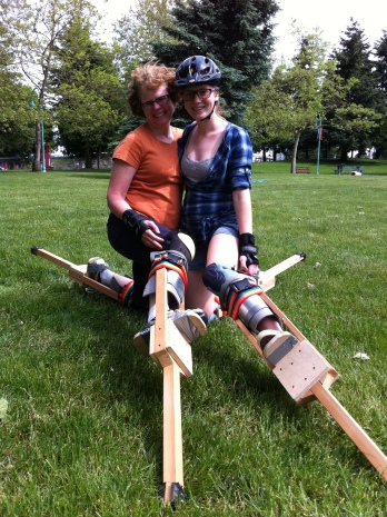 family learns to stilt together