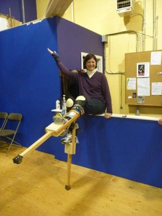 A woman learns to stilt