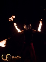 Fire performer with unique mask in Vancouver