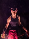 young fire dancer in Parksville for Halloween fire show